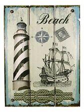 Wandbild maritim- Leuchturm, Schiff- Holz- Shabby