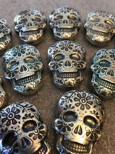 2 oz Silver MARIGOLD Day of the Dead Sugar Skull Poured .999 Fine 3D Art Bar