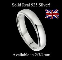925 Real Solid Silver 2mm 3mm 4mm D-Shaped Wedding Band Size H-T Plain Small