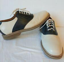 Johnston Murphy Mens Size 11 M Cream / Navy Brennan Saddle Lace up Oxfords Shoes