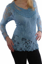 Markenlose Langarm Damenblusen, - Tops & -Shirts aus Mischgewebe