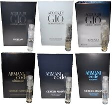 Giorgio Armani Lot of 6 Men's Cologne Spray Samples Acqua Di Gio Profumo Essenza