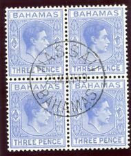 Bahamas 1948 KGV 3d brillante azul ultramar bloque de cuatro Very Fine Used. SG 154ab.