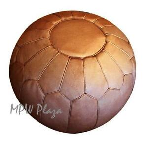 MPW Plaza Pouf, Retro, Sand, Moroccan Leather Ottoman (Stuffed)