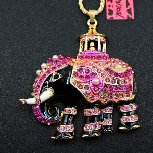Betsey Johnson Pink Cute Elephant Pearl Enamel Crystal Pendant Sweater Necklace