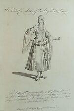 Vecchia stampa Barberia LADY COSTUME c1760 del Nord Africa 18A C ANTICA INCISIONE