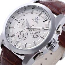 Luxury Self Winding Mens Day Date Leather Sport Mechanical Automatic Wrist Watch