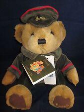 """HARRODS Bear 10"""" Tan Doorman Bear Sitting wearing Harrods Hat Cap ~NEW with Tags"""
