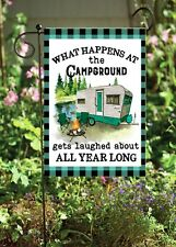 What Happens At The Campground  Garden Soft Flag     **GARDEN SIZE**   FG1225
