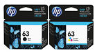 GENUINE NEW HP 63 Black and Color Ink 2-Pack for ENVY 4520 Officejet 3830 4650