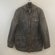 Guess Faux Leather Motorcycle Bomber Jacket Mens Size L Brown Detachable Hood