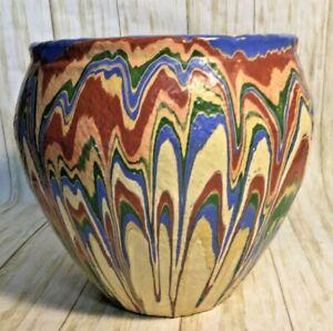 Huge Vintage Ozark Pottery Planter Roadside Tourist Rainbow Swirl Harold Horine?