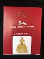 2020 Hallmark Keepsake Holiday Barbie Ornament 6th In Series Gold Dress