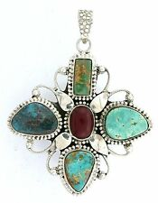 Sterling Silver Persian Turquoise Coral Cabochon Cab Gem Gemstone Pendant ES2367