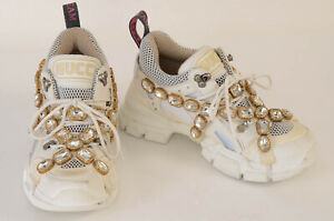 Gucci white 7 37 crystal harness chunky low top trainer sneaker shoe NEW $1590