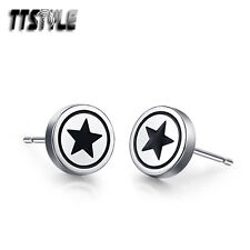 TTstyle 18K Gold GP Stainless Steel Round Stud Earrings 3-8mm 2018 NEW