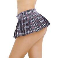 Girl Women Mini Plaid Skirt Pleated Schoolgirl Short Micro Dress Costume Cosplay