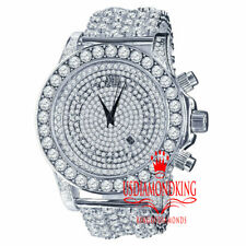 Bling Master Custom Luxury Watch White Tone Solitaire Lab Diamonds  Band