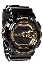 Casio Men's Black Resin G-Shock Digital Strap Gold Tone GD-100GB-1D