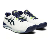 Asics Mens Gel-Resolution 8 Court Shoes Navy Blue White Sports Tennis Breathable