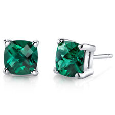 14K 14ct White Gold 1.5 Ct Lab Emerald Stud Earrings Cushion Cut 6 x 6 mm