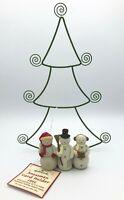 Hallmark Snowmen Christmas Card Holder Photo Display Metal Tree Stand w/ Tag