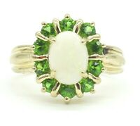 14k Solid Gold Women's Peridot Opal October Birthstone Ring Sizable 14kt 585