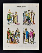 1880 Braun Costume Print Frankish King Queen Charles Bald Henry II Bishop France