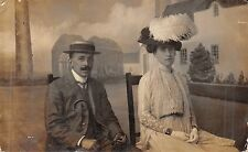 Lady & Gentleman, RP, backdrop, hats, Mrs Dawnay, 4 Cedars Road, Clapham  Rk142