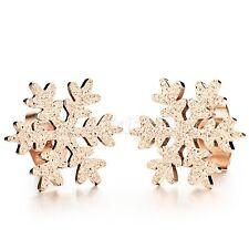 Women's Rose Gold Tone Stainless Steel Snowflower Matte Charm Earrings Ear Studs