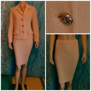 ST. JOHN COUTURE Knits Yellow Cream JACKET Skirt L 10 12 2pc Suit Buttons