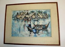 Original Oil Painting Abstract Custom Framed Signed Philippines? MCM Impasto