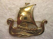 Vintage Signed Goldtone Coro Ship Brooch