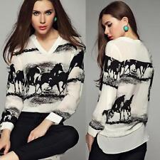 2017 Women Long Sleeve Black Horse White creative Shirt Chiffon Tops Blouse L#