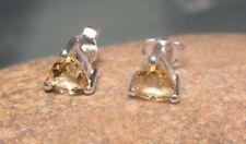 Sterling silver 5mm trillion CUT CITRINE STUD earrings. Gift bag.