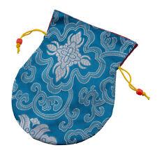 Pochette tibetaine pour mala rosaire tissu brocart bourse à bijoux bleu 9186