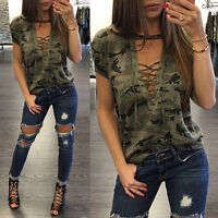 Women V-Neck Lace Up Camo T-Shirt Short Sleeve Casual Loose Blouse Pullover Tee