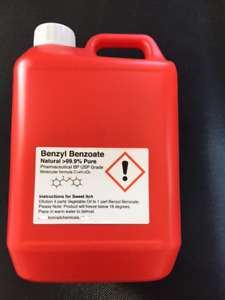 Benzyl Benzoate 99.9% Pure Grade  5000ml (5lt) SWEET ITCH  Ticks Mites