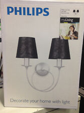 Philips in Style Wall Light Black and Silver 2 x 28w (sold as a pair)