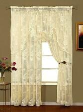 ABBEY ROSE LACE CURTAINS ONE PAIR 100 X 84 - SHABBY VICTORIAN ELEGANCE