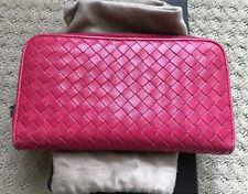AUTHENTIC Bottega Veneta Zipper Around Wallet PINK LEATHER Great Condition!!