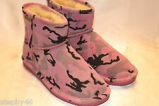 NEW! BEARPAW Pink Camo Suede Leather EMMA Short Ankle Winter Boots Sz 8