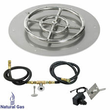 "American Fireglass 18"" Round Flat Fire Pit Kit with Spark Ignition Natural Gas"