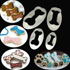 4pcs Dog Bone Cookie Cutter Biscuit Fondant Pastry Baking Cake Mold Pet Cartoon