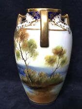 """Early 20th Century Noritake Hand Painted Three Arm Temple Vase 6"""" High"""