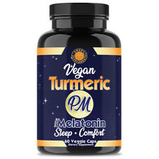 Vegan Turmeric PM Sleep Aid w. Melatonin and Turmeric - 60 Veggie Capsules