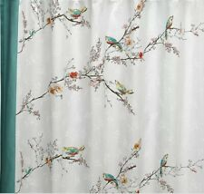 """Lenox Chirp Birds Floral Damask Fabric Shower Curtain 70 x 72"""" used once"""