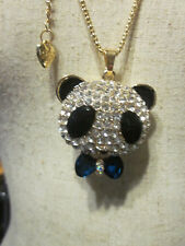 "BETSEY JOHNSON RHINESTONE CRYSTAL BEADS PANDA BEAR BLUE TIE NECKLACE 28"" CHAIN"