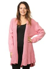 Ladies Women's Knitted Waterfall Cardigans Tops Sweaters Full Sleeves Plus Sizes UK Size 16/18 Pink 80 Acrylic & 20 Cotton