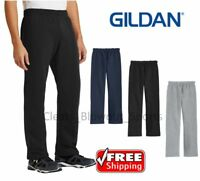Mens Gildan Open Bottom Sweatpants Casual Retro Style Workout Sweats Pants 18400